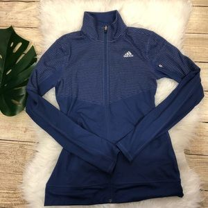 Adidas navy zip up with stripes